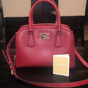 NWOT Michael Kors Red Leather Dome Satchel Handbag
